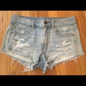 American Eagle Light Wash Frayed Denim Shorts